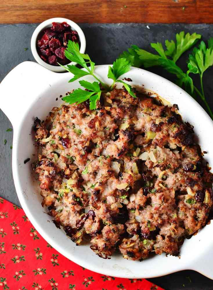 Christmas Stuffing Casserole Cranberries & Chestnuts