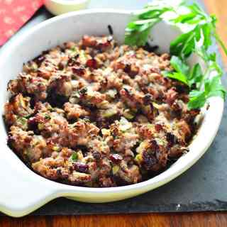 Christmas Stuffing Casserole with Cranberries & Chestnuts