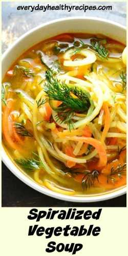 Top down close-up view of spiralized vegetable soup garnished with dill in white bowl on top of dark surface.