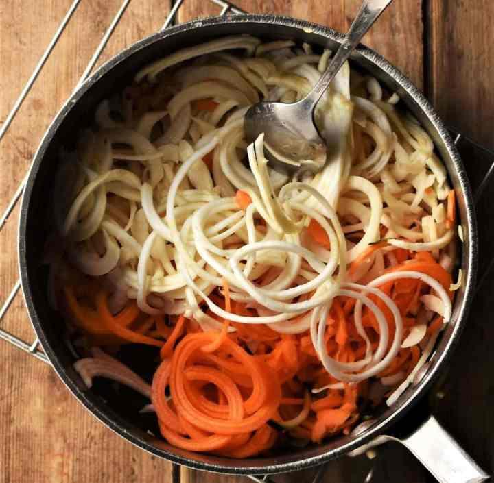Spiralised vegetables in pot.