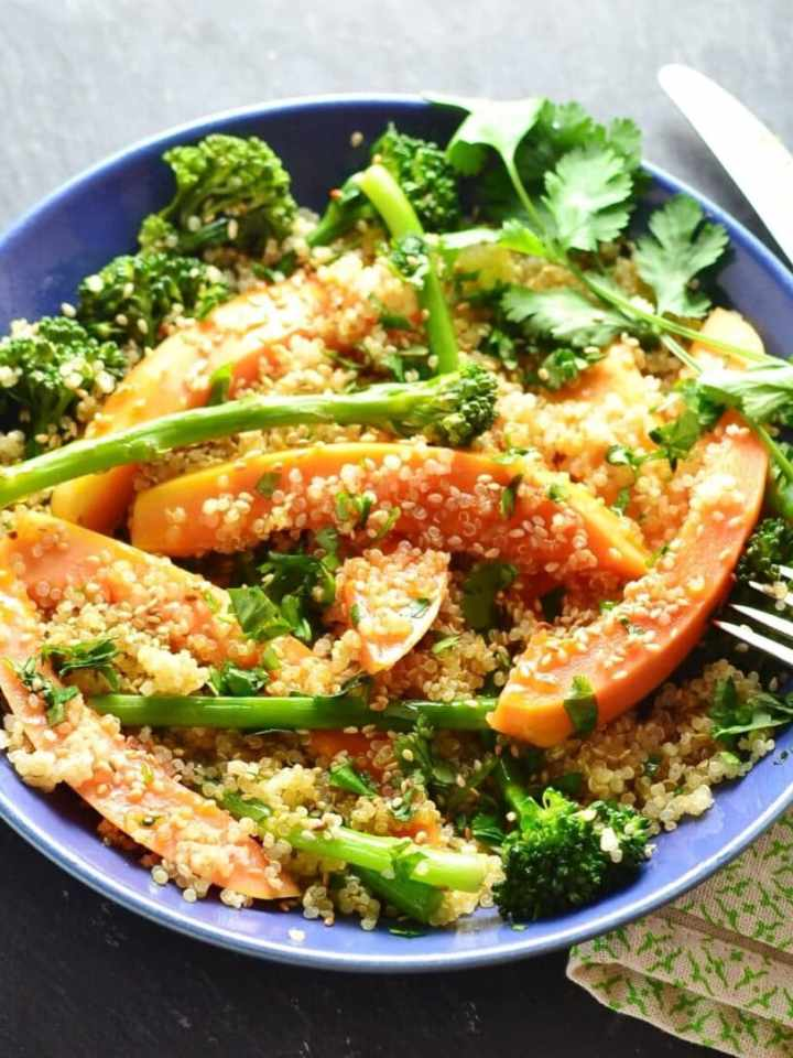 Broccolini Salad with Quinoa & Papaya is a delicious, Asian inspired light meal.  If you prepare the ingredients ahead this salad can be thrown together in minutes.