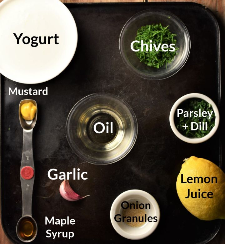 Ingredients for making healthy ranch dressing in individual dishes.