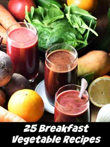 Fresh vegetables, fruit and juice in 3 glasses.