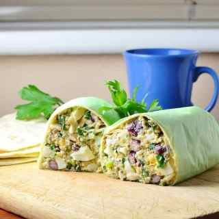 Low Fat Egg Salad Breakfast Burritos with Beans and Quinoa