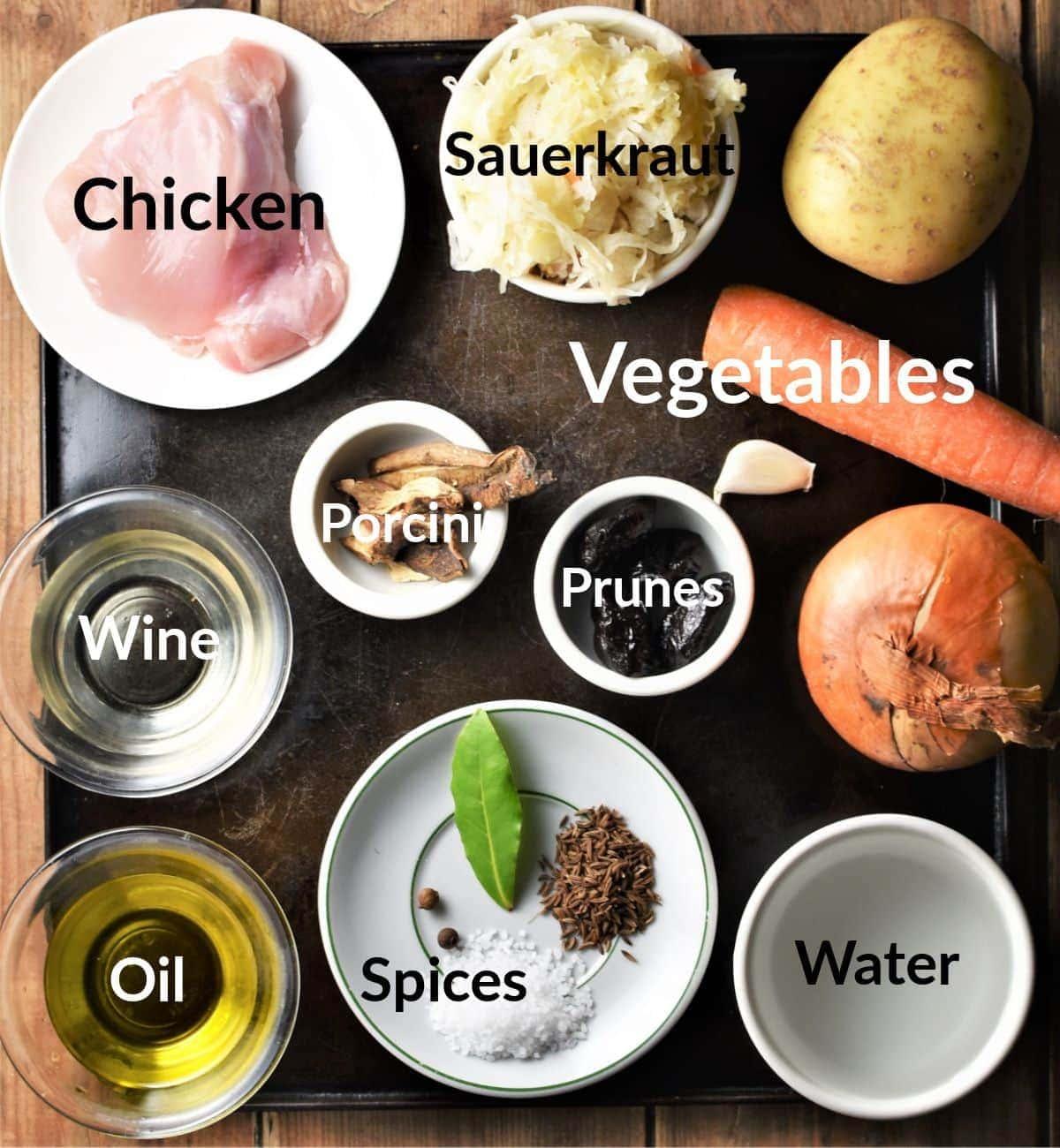 Sauerkraut casserole ingredients in individual dishes.
