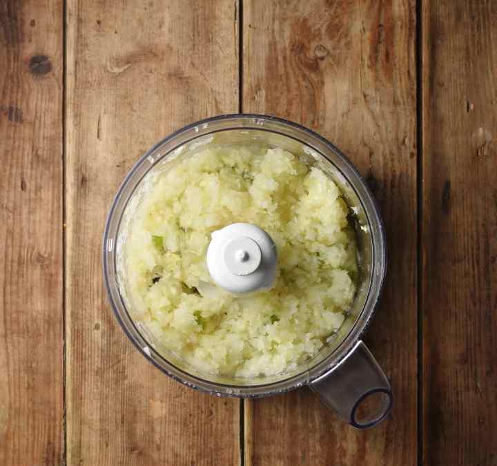 Onion mixture in blender.