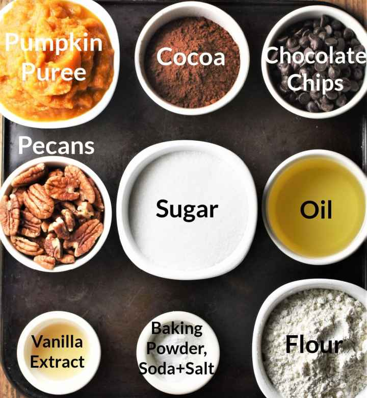 Ingredients for pumpkin brownies in individual dishes.