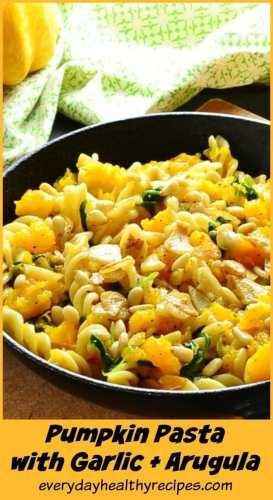 Pumpkin Garlic Pasta with Arugula