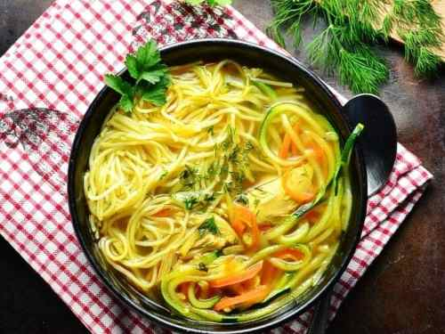 Low Carb Chicken Noodle Soup with Spiralized Vegetables