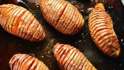 Hasselback Sweet Potatoes with Herbs