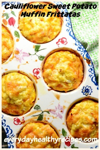 Sweet Potato Frittata Muffins with Cauliflower are packed full of protein and veggie goodness. Low in fat, they are made using raw vegetables. #sweetpotatoes #frittata #savorybreakfast #cauliflowerrice #muffinrecipes #lowcarbbreakfast