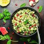 This nutritious Roasted Cauliflower Rice Tabbouleh with Pomegranate recipe is naturally gluten free and vegan - perfect for entertaining.