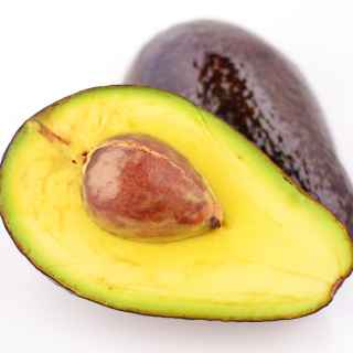 Top down view of halved avocados