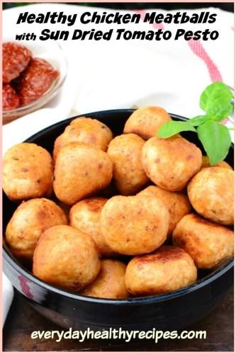 4-Ingredient Healthy Chicken Meatballs with Pesto