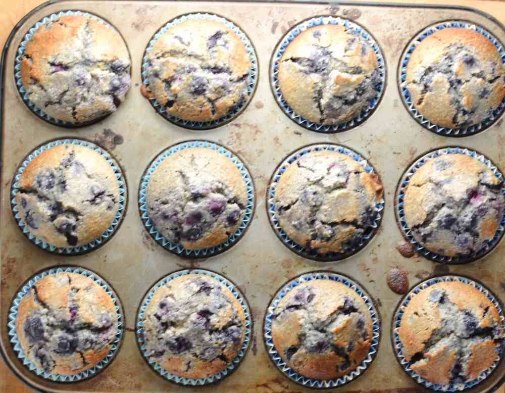 12 uncooked blueberry muffins inside muffin tin.
