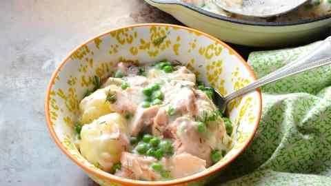 Healthy Creamy Leftover Salmon and Potato Bake