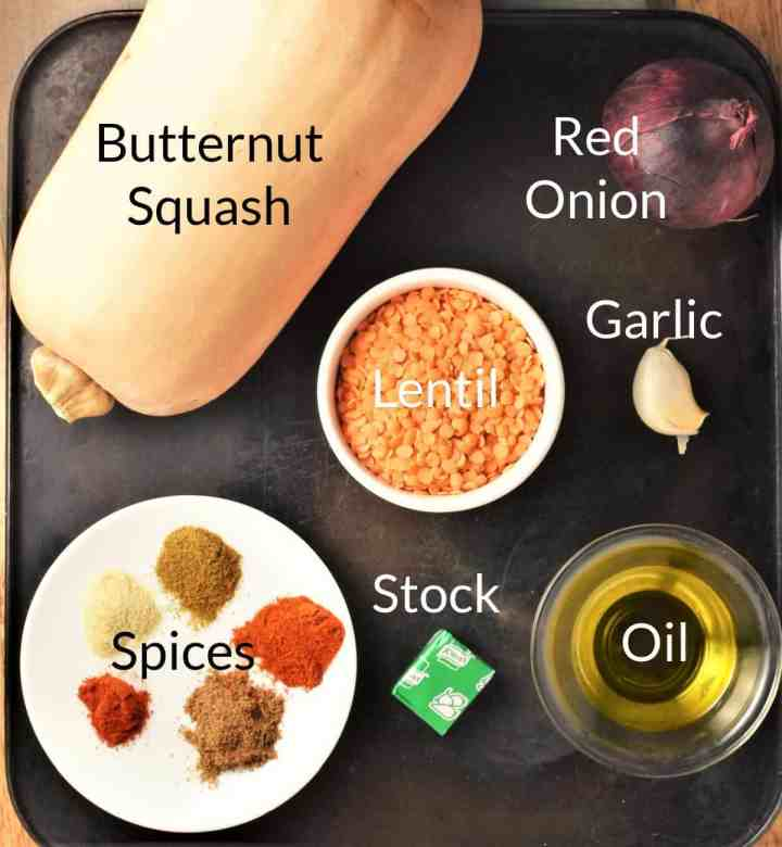 Ingredients for making butternut squash soup with lentils in individual dishes.