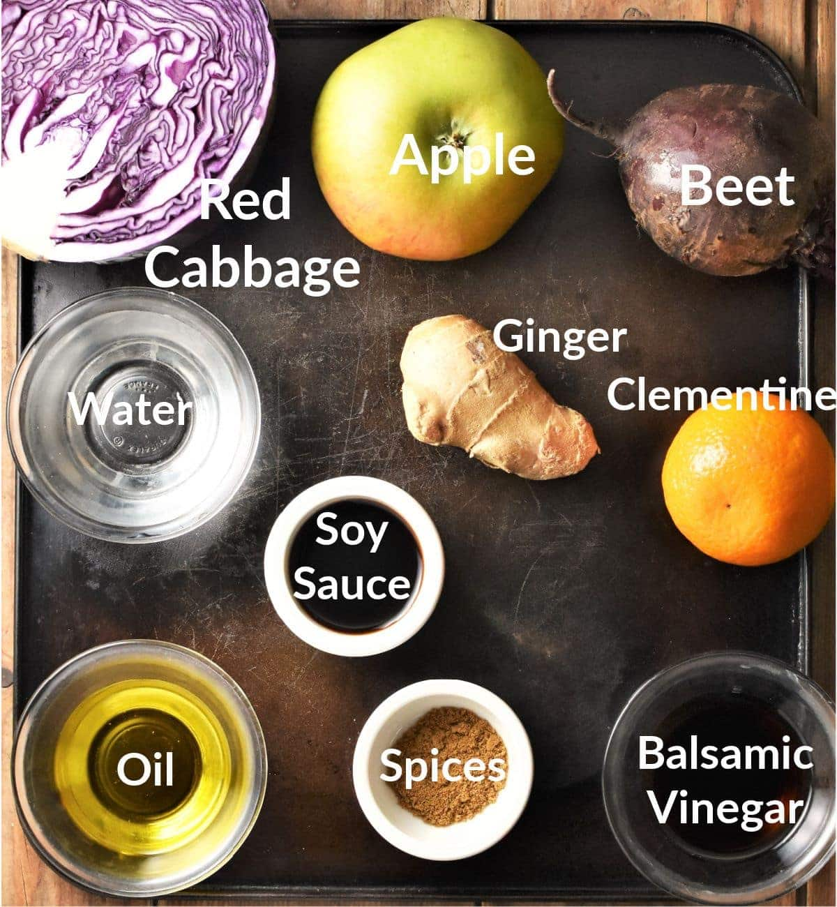 Ingredients for braised red cabbage in individual dishes.