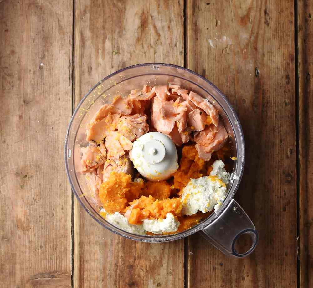 Sweet potato pulp, cooked salmon and cream cheese in blender.