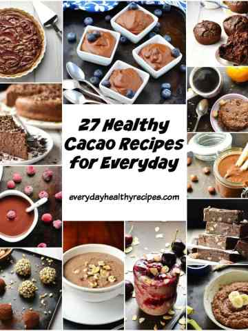 Collage of 12 cacao recipes including muffins, energy balls, porridge, overnight oats, cake and mousse.