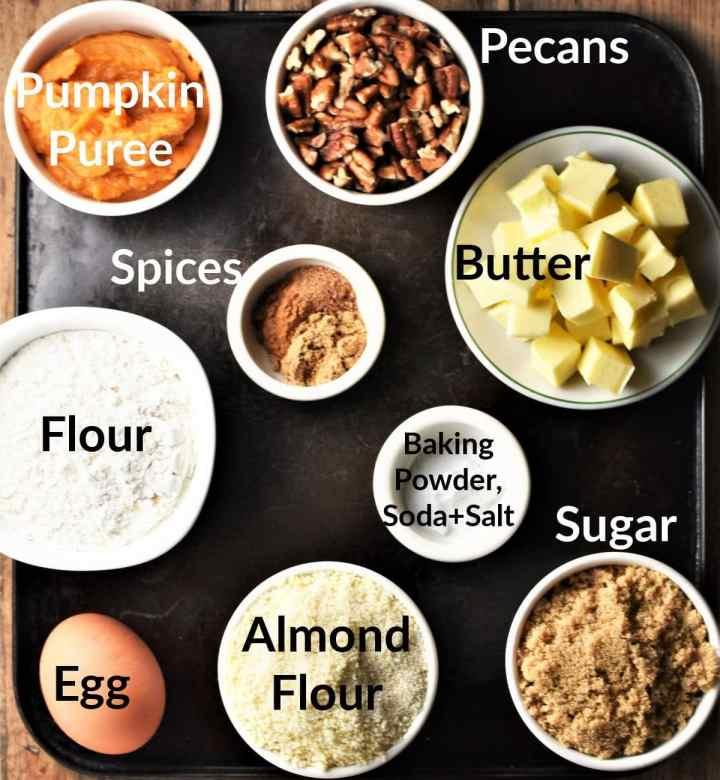 Pumpkin cookies ingredients in individual dishes.