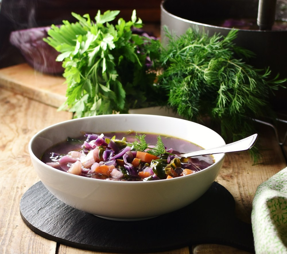 Side view of red cabbage soup with vegetables in white bowl with spoon, fresh herbs and pot in background.