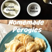 Perogies ingredients and ready perogies in blue bowl.