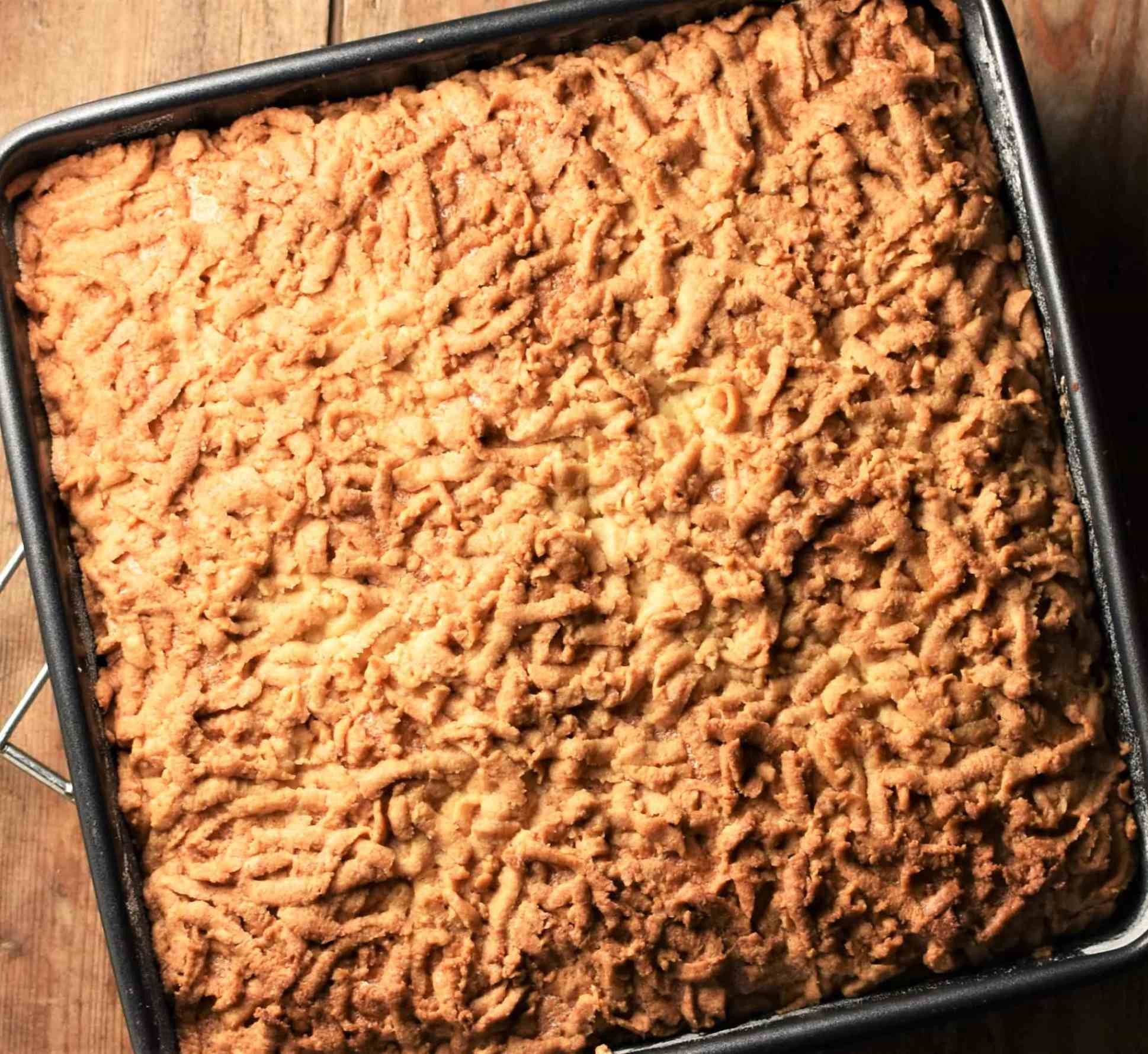 Baked crumble coffee cake.