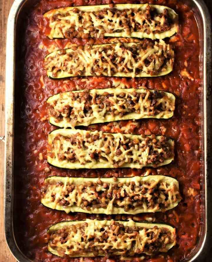 Baked stuffed zucchini casserole.