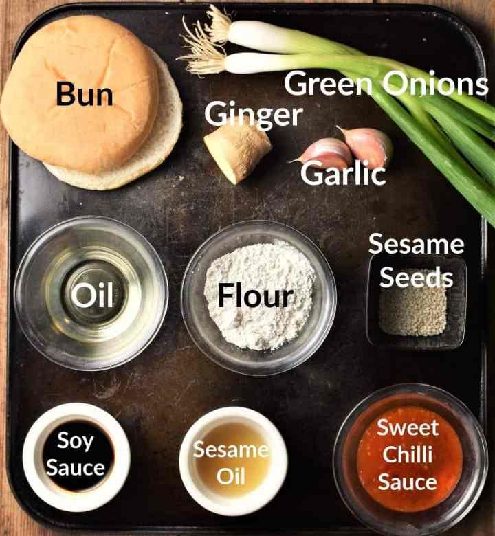 Asian meatballs ingredients in individual dishes.