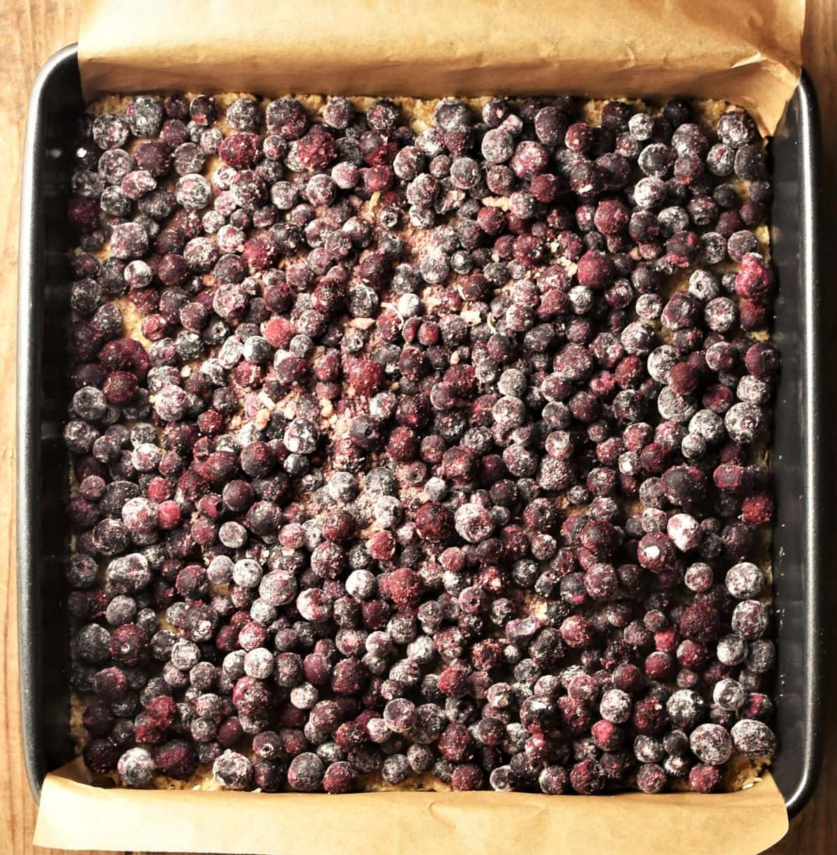 Blueberries in square pan.