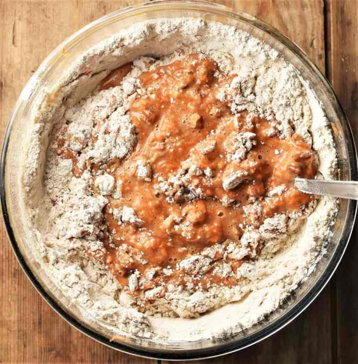 Flour and carrot mixture in bowl.