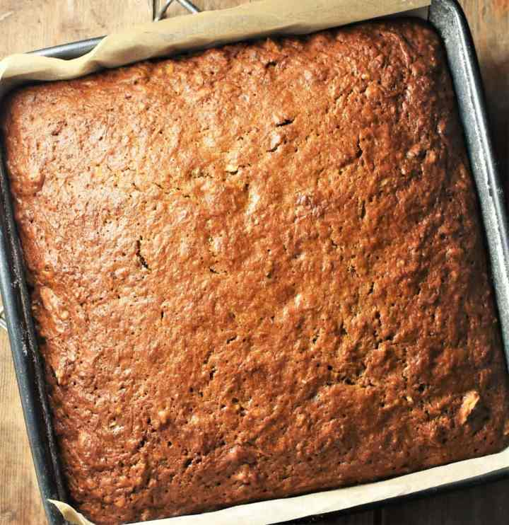Baked carrot cake in square pan.