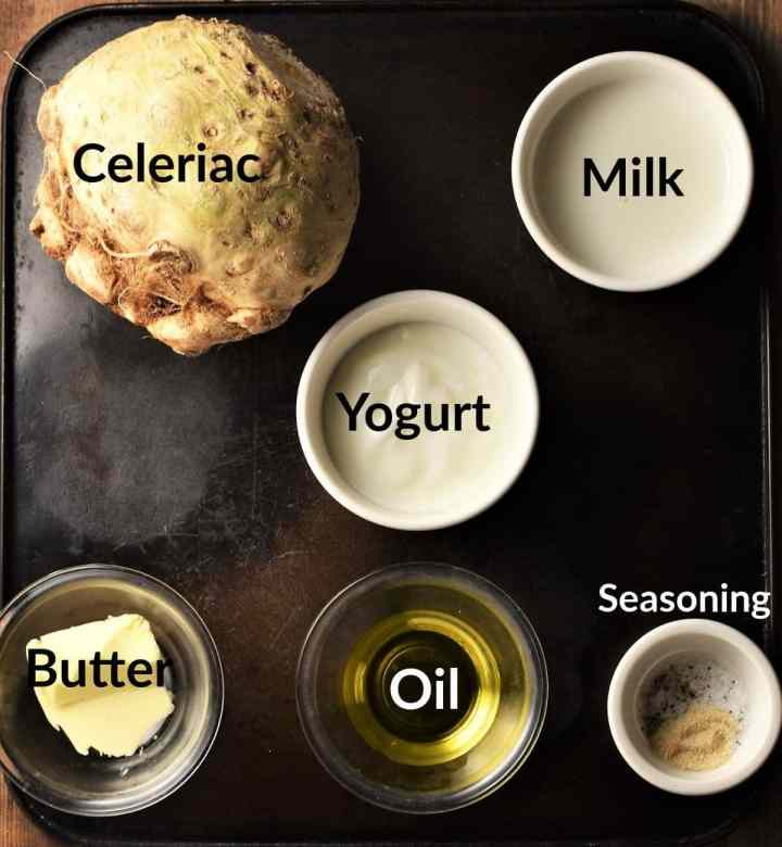 Celery root puree ingredients in individual dishes.