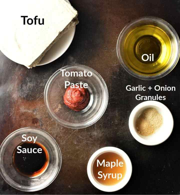Ingredients for marinated tofu in individual dishes.