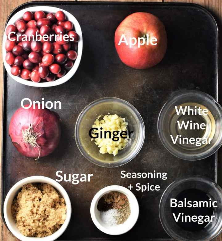 Ingredients for cranberry chutney in individual dishes.