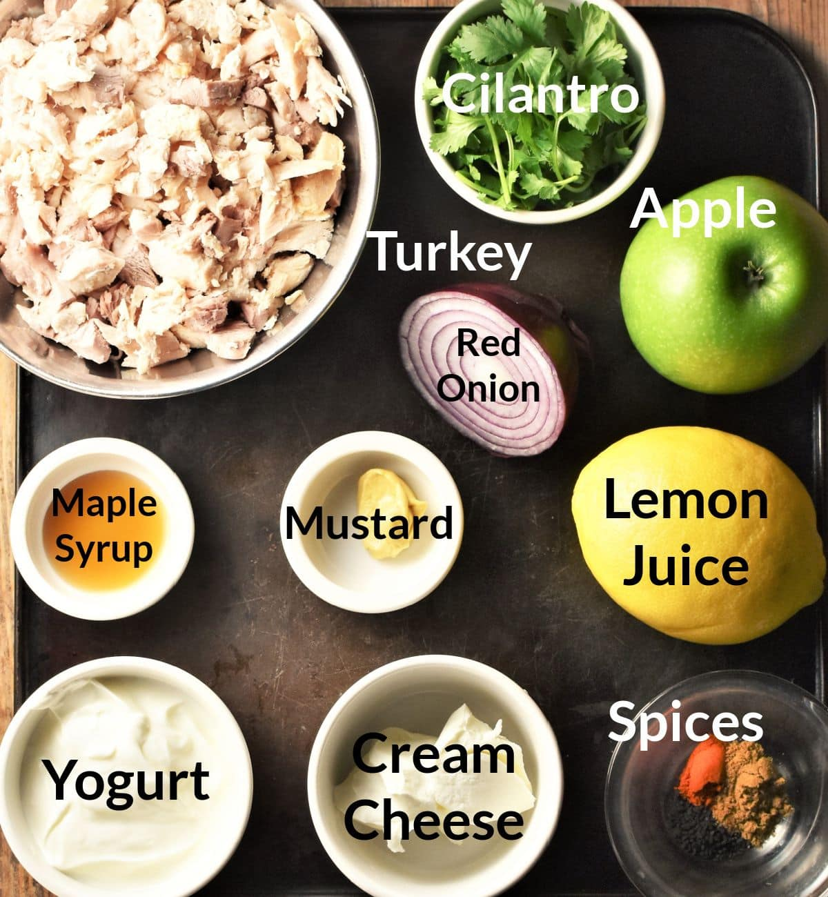 Ingredients for turkey salad sandwich in individual dishes.