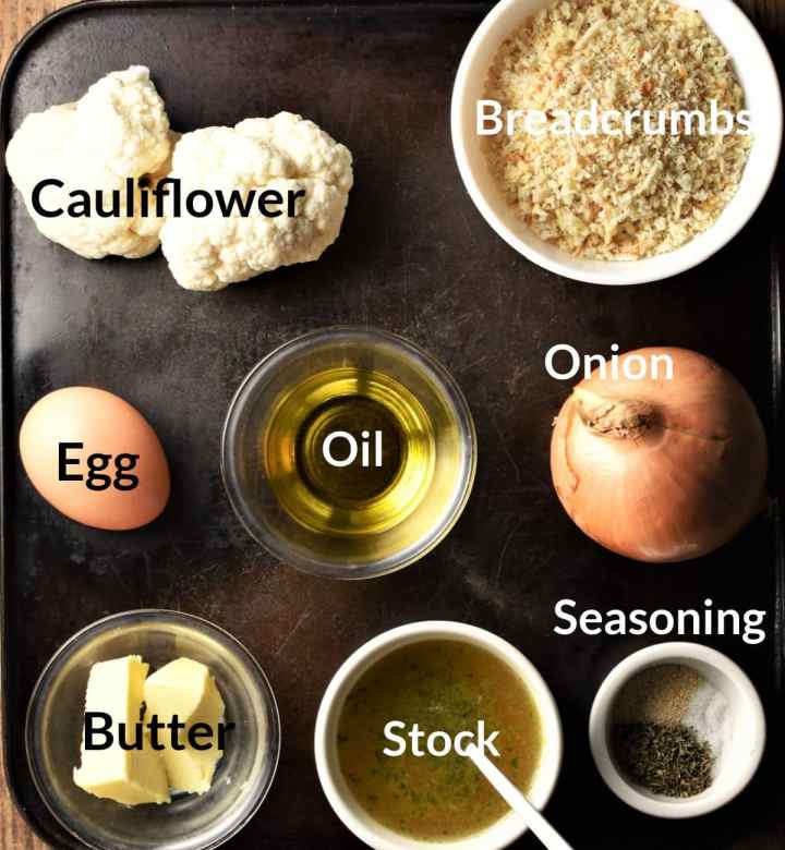 Ingredients for cauliflower stuffing in individual dishes.