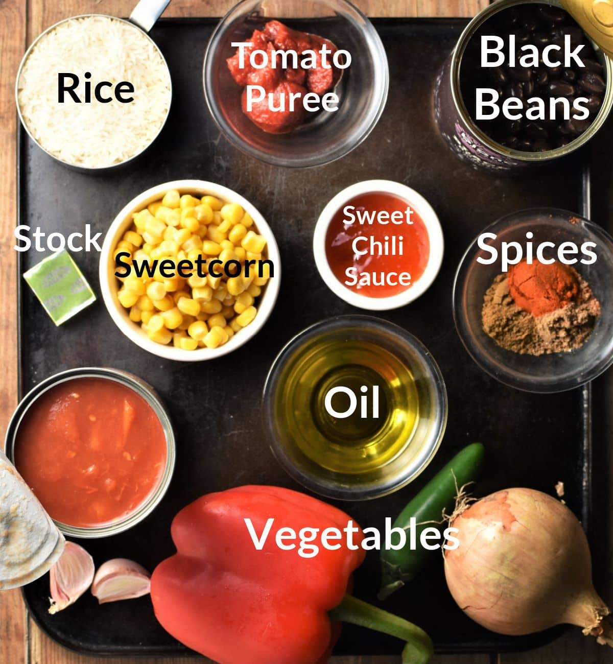 Ingredients for turkey rice casserole in individual dishes.