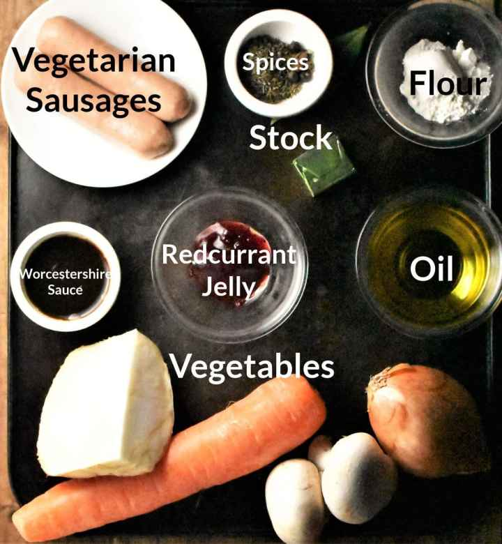 Ingredients for making vegetarian sausage pie in individual dishes.
