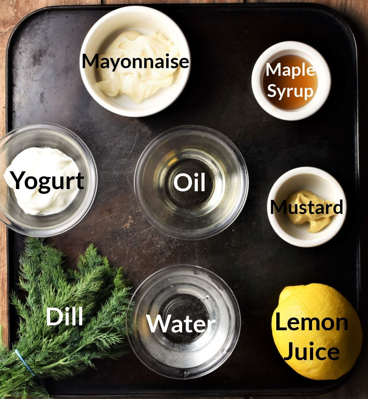 Ingredients for making dill salad dressing.