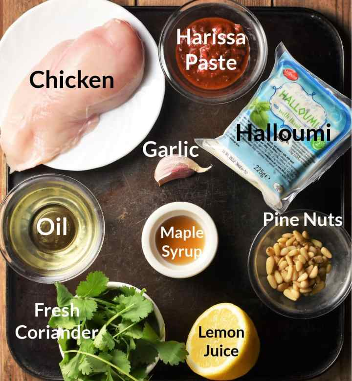 Ingredients for making hasselback chicken in individual dishes.