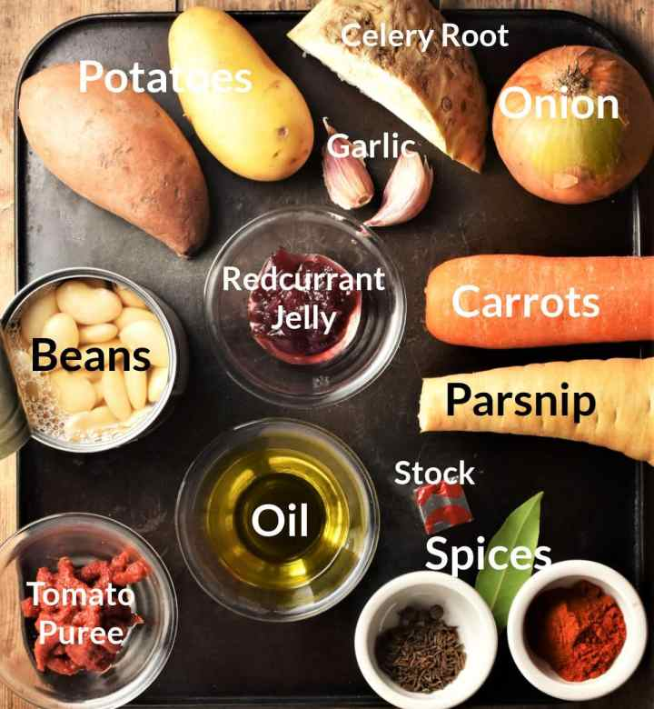 Ingredients for making root vegetable stew in individual dishes.