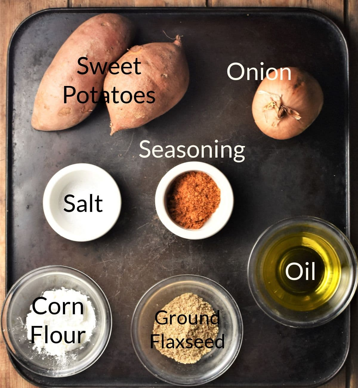 Sweet potato fritters ingredients in individual dishes.