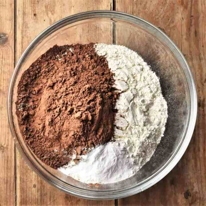 Flour and cocoa powder in large mixing bowl.