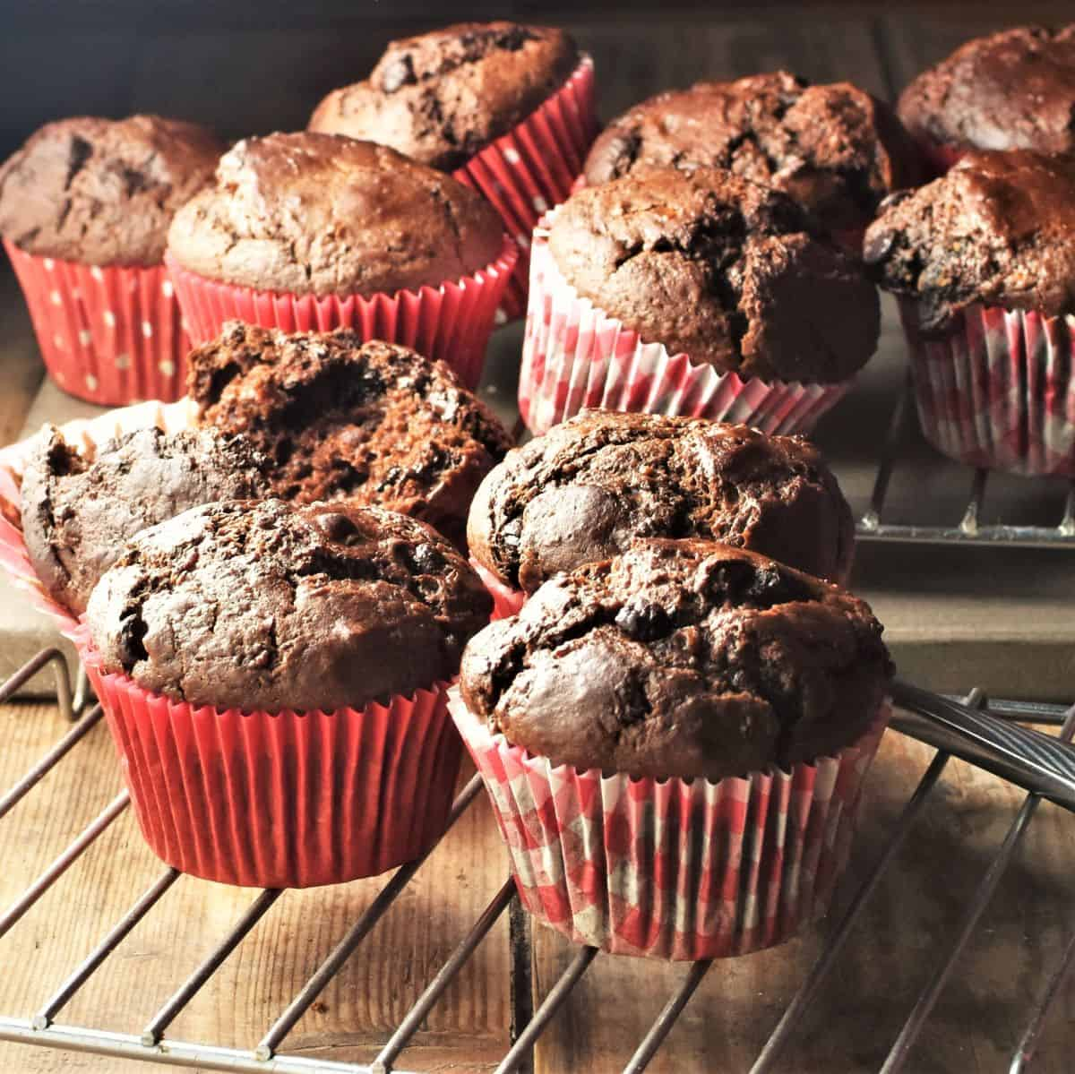 Side view of healthy chocolate muffins in red paper cases on top of rack.