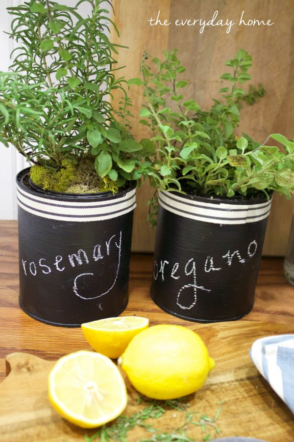 Chalkboard Herb Pots The Everyday Home www.everydayhomeblog.com
