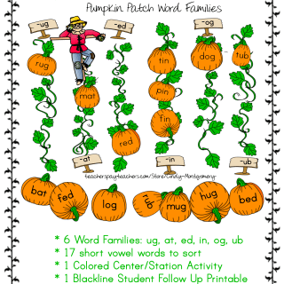 Pumpkin Patch Short Vowel Word Families