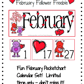 Feb Follower Freebie Pocketchart Calendar Set