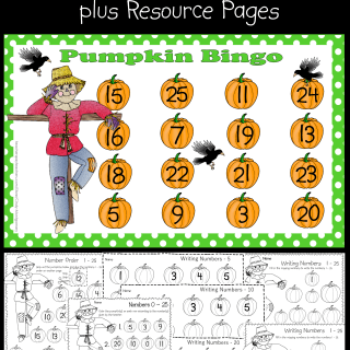 Pumpkin Bingo for Numbers 0 – 25 plus Resource Pages